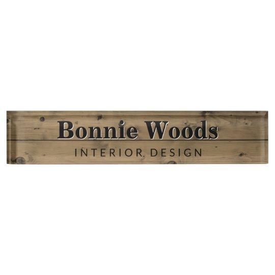 Rustic Wood Interior Designer Custom Office Desk Name Plate