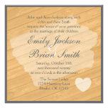 Rustic wood Iowa orange wedding invitations