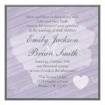 Rustic wood Iowa purple wedding invitations