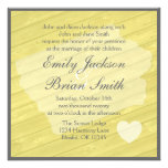 Rustic wood Iowa yellow wedding invitations