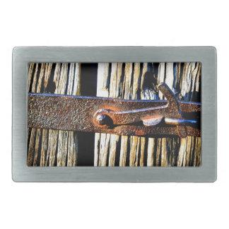 Rustic Wood & Iron Metal Latch Belt Buckle