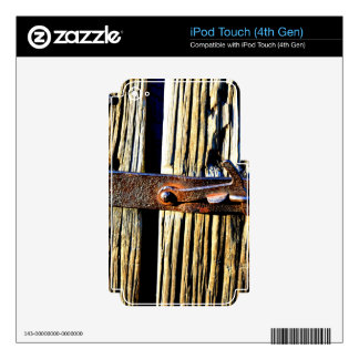 Rustic Wood & Iron Metal Latch Decal For iPod Touch 4G