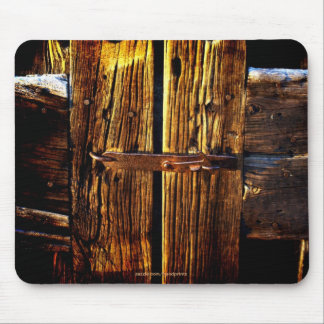Rustic Wood & Iron Metal Latch Mouse Pad