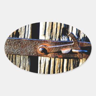 Rustic Wood & Iron Metal Latch Oval Sticker