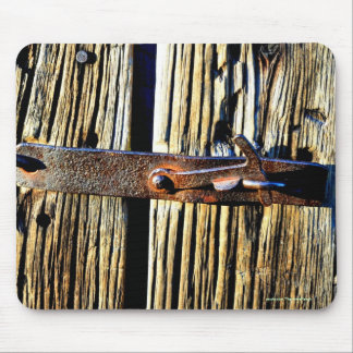 Rustic Wood & Iron Metal Latch Photo Image Mouse Pad