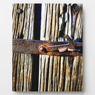 Rustic Wood & Iron Metal Latch Plaque