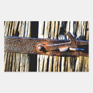 Rustic Wood & Iron Metal Latch Rectangular Sticker