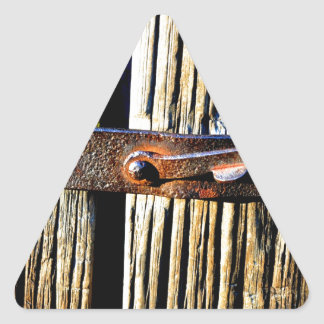 Rustic Wood & Iron Metal Latch Triangle Sticker