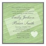 Rustic wood Kansas green wedding invitations