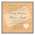 Rustic wood Kansas orange wedding invitations