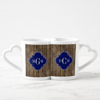 Rustic Wood L Planks #1 Navy Quatrefoil 3 M'gram Couples Coffee Mug