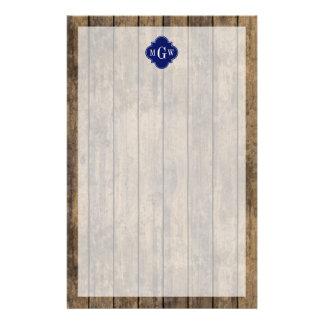 Rustic Wood L Planks #1 Navy Quatrefoil 3 M'gram Stationery