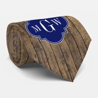 Rustic Wood L Planks #1 Navy Quatrefoil 3 M'gram Tie