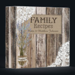 """Rustic Wood Lace and Lavender Recipe Book 3 Ring Binder<br><div class=""""desc"""">Rustic wood planks background with white lace and misty lavender flowers in mason jar with burlap recipe book.</div>"""