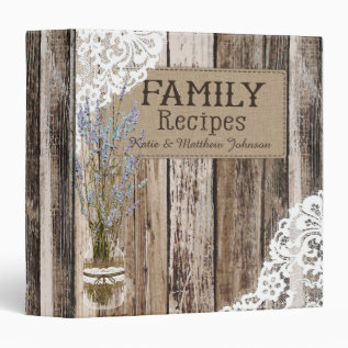 Rustic Wood Lace And Lavender Recipe Book 3 Ring Binder at Zazzle