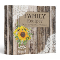 Rustic Wood Lace and Sunflower Bouquet Recipe Book Binder