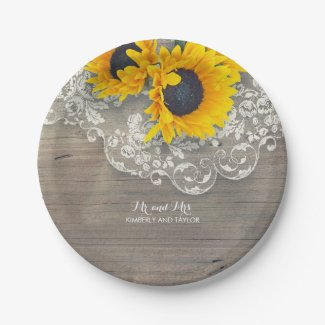 Rustic Sunflower and Lace Wedding Paper Plates