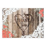 Rustic Wood Lace Baby's Breath Heart Thank You Card