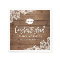 Rustic Wood Lace Congrats Grad Graduation Party Paper Napkin