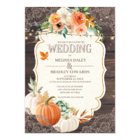 Rustic Wood Lace Fall Wedding Invitation