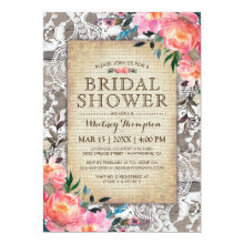 Rustic Wood Lace Floral Vintage Bridal Shower