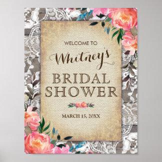 Rustic Wood Lace Floral Vintage Bridal Shower Poster