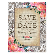Rustic Wood Lace Floral Vintage Save the Date