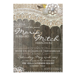 Rustic Wood & Lace Floral Wedding Invitation