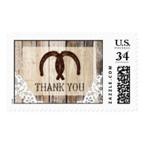 Rustic Wood Lace Horseshoe Country Wedding Stamp