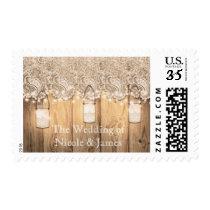Rustic Wood Lace & Lighted Mason Jar Invitation Postage