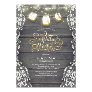 Rustic Wood Lace Mason Jar Lights Birthday Party Card