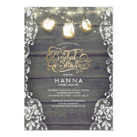 Rustic Wood Lace Mason Jar Lights Bridal Shower Card