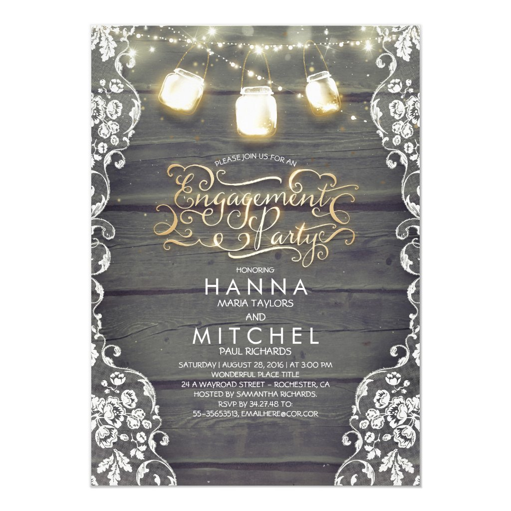 Rustic Wood Lace Mason Jar Lights Engagement Party Invitation