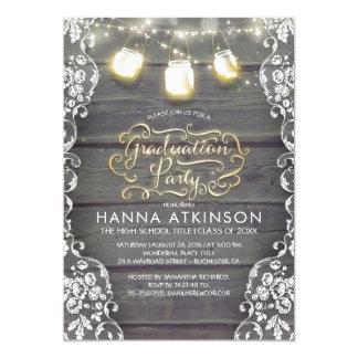 Rustic Wood Lace Mason Jar Lights Graduation Party Card