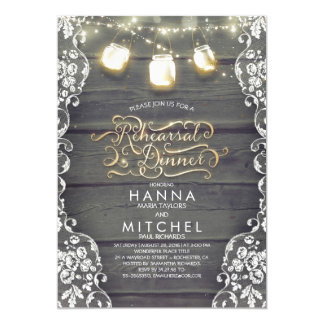 Rustic Wood Lace Mason Jar Lights Rehearsal Dinner Invitation