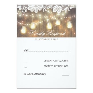 Rustic Wood Lace Mason Jar Lights Wedding RSVP Card