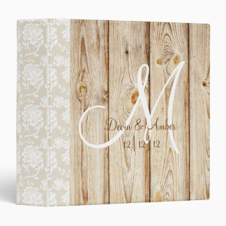 Rustic Wood & Lace monogrammed wedding planner 3 Ring Binder