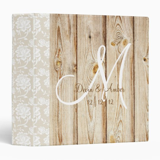 Printable Wedding Planner Binder Planning A Rustic: Rustic Wood & Lace Monogrammed Wedding Planner 3 Ring
