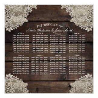 Rustic Wood & Lace Romantic Wedding Table Seating Poster