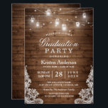 """Rustic Wood Lace String Lights Graduation Party Card<br><div class=""""desc"""">Customize this &quot;Rustic Wood Lace String Lights Graduation Party Invitation&quot; to invite your friends and family to your Grad Party. It&#39;s easy to personalize to be uniquely yours. (1) For further customization, please click the &quot;customize further&quot; link and use our design tool to modify this template. (2) If you prefer...</div>"""