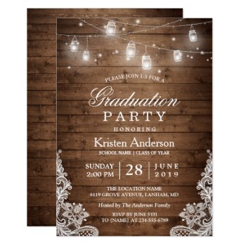 Rustic Wood Lace String Lights Graduation Party Card by CardHunter at Zazzle