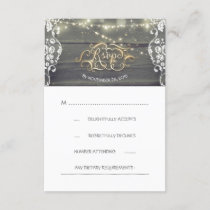 Rustic Wood Lace String Lights Wedding RSVP Card
