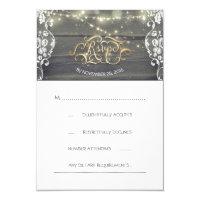 Rustic Wood Lace String Lights Wedding RSVP Card