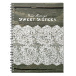 Rustic Wood Lace Sweet Sixteen Personalized Spiral Notebook
