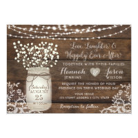 Rustic Wood Lace Wedding Invitation, Mason Jar Card