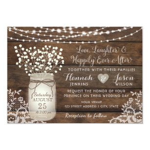 Rustic Wood Lace Wedding Invitation Mason Jar Invitation