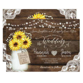 Rustic Wood Lace Wedding Invitation, Sunflower Jar Card