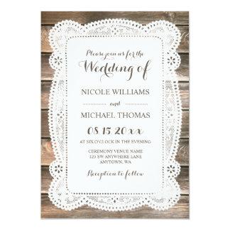 Rustic Wood Lace Wedding Invitations