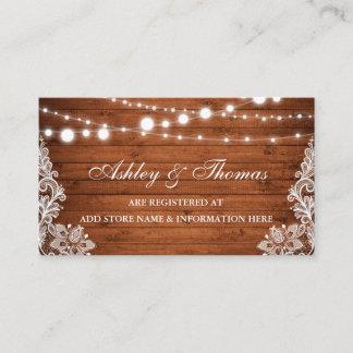Rustic Wood Lace Wedding Registry Insert Card