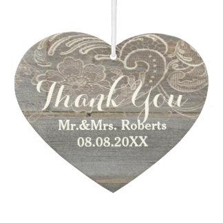 rustic wood lace western country wedding favor car air freshener